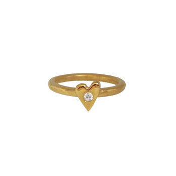 Gold Heart Ring With White Sapphire