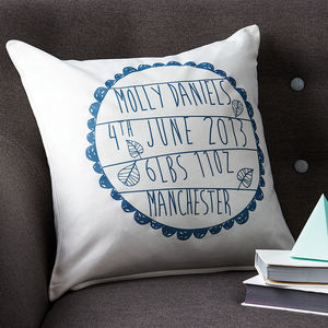 Personalised Baby's Birth Cushion - gifts sale