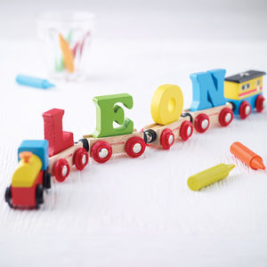 Wooden Name Train - christening gifts