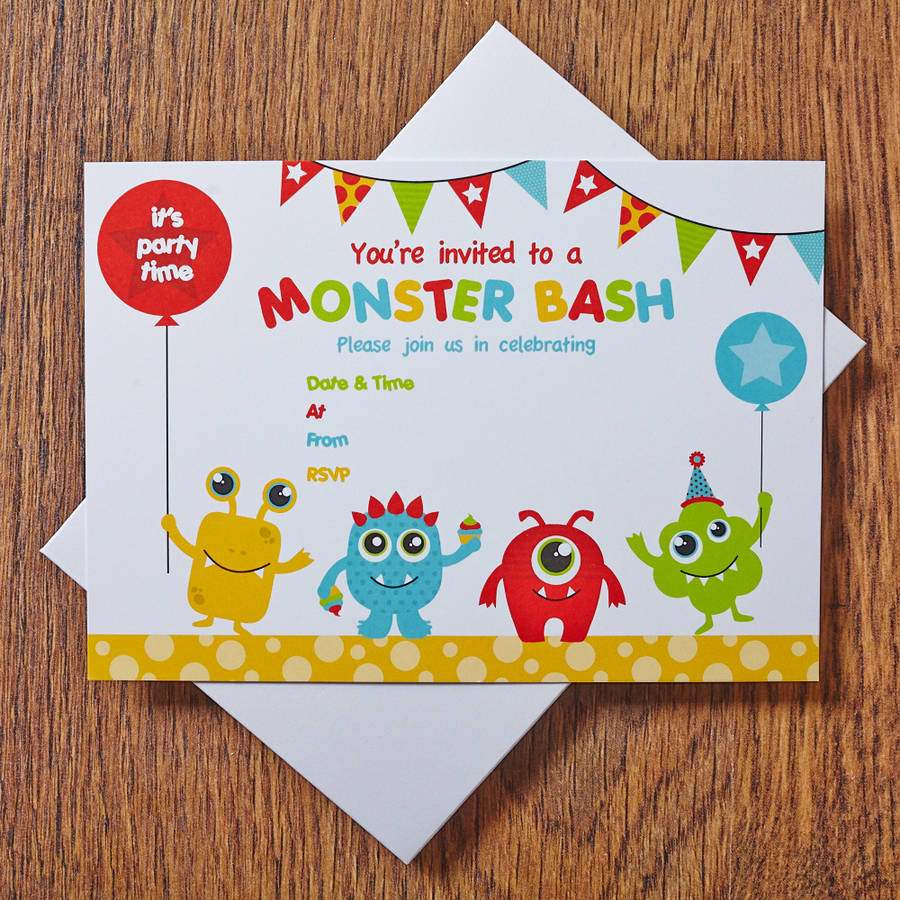 monster thank you cards by feather grey parties – Monster Party Invites