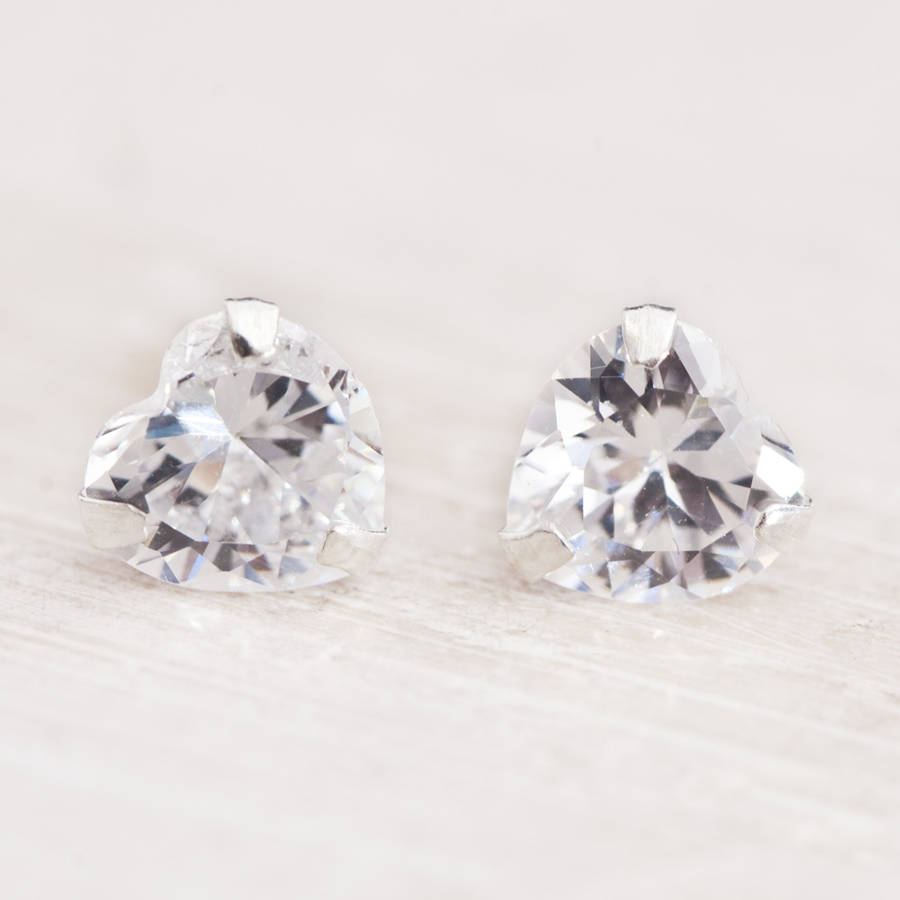 Bloom Boutique Camilla Crystal Heart Stud Earrings