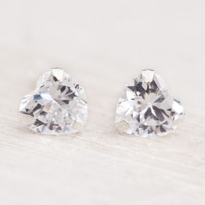Camilla Crystal Heart Stud Earrings - wedding jewellery