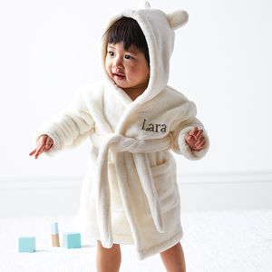 Personalised Hooded Fleece Dressing Gown - for under 5's