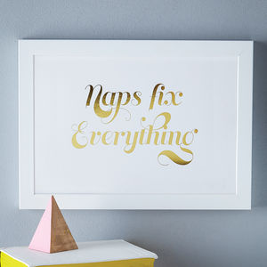 'Naps Fix Everything' Foil Print - baby shower
