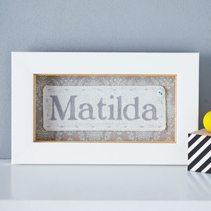 Personalised Fabric Framed Child's Name - mixed media & collage