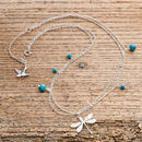 Silver Dragonfly Necklace With Turquoise