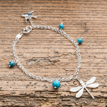 Silver Dragonfly Bracelet With Turquoise