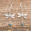 Silver And Turquoise Dragonfly Earrings