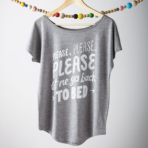 'Let Me Go Back To Bed' Women's Loose Fit T Shirt - fashion sale