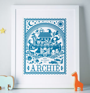 Personalised Noah's Ark Print - baby's room
