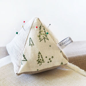 Nordic Trees Linen Pin Cushion - pin cushions