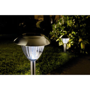 Set Of Two White Ultra Bright Solar Garden Lights - lighting