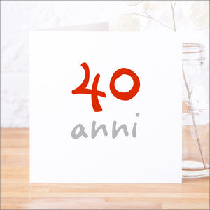 Personalised Italian 'Anni' Anniversary Birthday Card