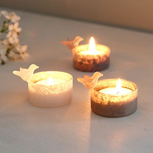 Set Of Three Frosted Tealights With Birds - candles & candle holders