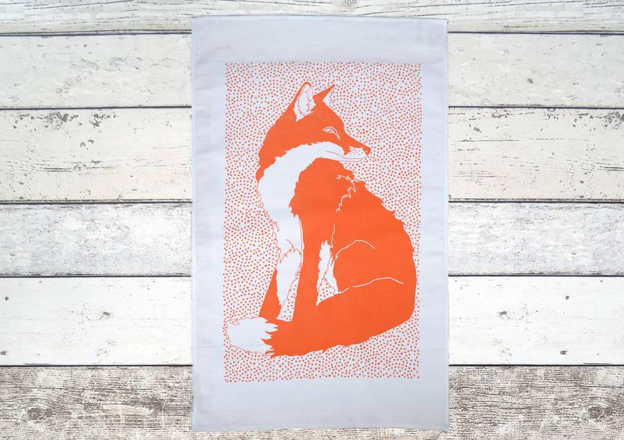 Fox Linen Tea Towel