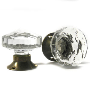 Antique Faceted Clear Glass Internal Mortice Door Knob - home accessories