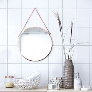 Round Copper Mirror - decorative accessories