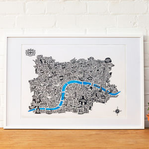 Special Edition Typographical Map Of London White Paper