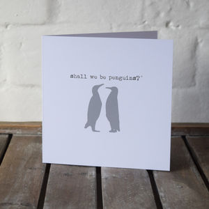 Penguin Love Message Valentines Card - wedding, engagement & anniversary cards