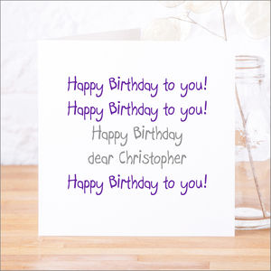 Personalised 'Happy Birthday To You' Birthday Card