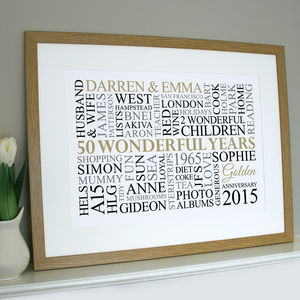 Personalised Golden Anniversary Word Art - 50th anniversary: gold