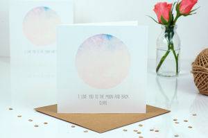 Moon Print Personalised Valentines Card - personalised cards