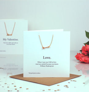 Love Arrow Personalised Valentines Card Necklace Gift