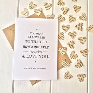 Pride And Prejudice Valentines Card - wedding, engagement & anniversary cards