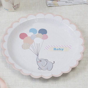 Vintage Themed Baby Elephant And Peach Paper Plates