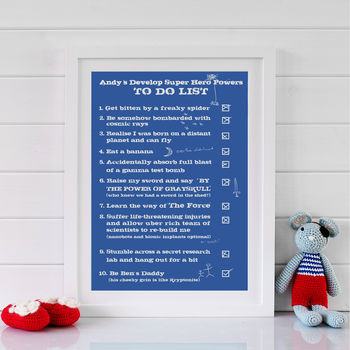 Personalised Superhero Powers Print - Blue