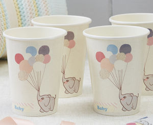 Vintage Themed Baby Elephant And Balloon Paper Cups - picnics & barbecues