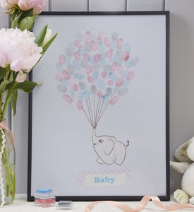 Baby Elephant Finger Print Keepsake Guestbook - baby shower gifts