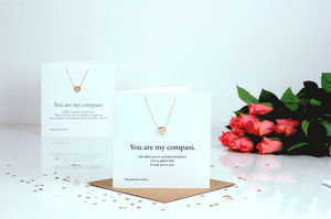 Compass Personalised Valentines Card Necklace Gift