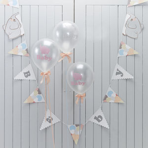 Baby Elephant Peach And Grey Bunting - baby's room