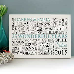 Personalised Silver Anniversary Word Art - baby's room
