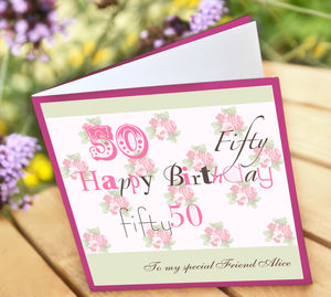 Personalised 50th Birthday Card - birthday cards