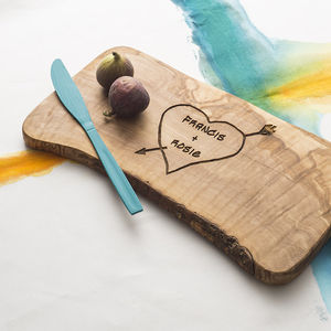 Personalised Carved Heart Cheese Board - 5th anniversary: wood