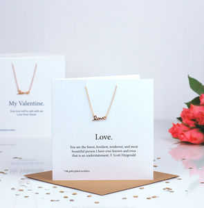 Handwriten Love Special Valentines Card Necklace