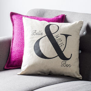 Personalised Ampersand Wedding Cushion - 4th anniversary: linen