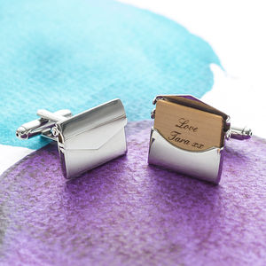 Personalised Envelope Cufflinks - for him