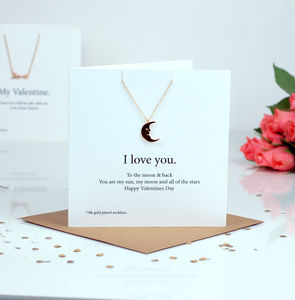 Moon Necklace Luxury Valentines Card Gift - valentine's cards