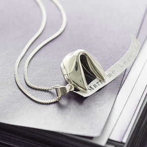 Personalised Sterling Silver Fortune Cookie Necklace