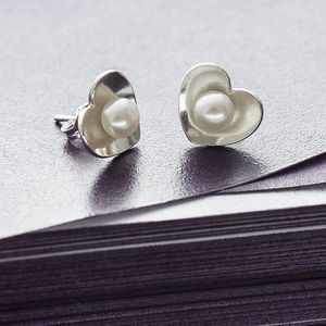 Pearl Heart Studs - gifts for her