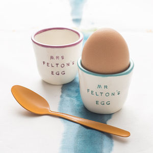 Personalised Pair Of Ceramic Egg Cups - egg cups & cosies