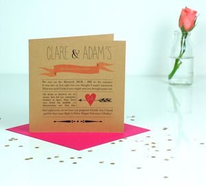 Our Love Story Personalised Valentines Card