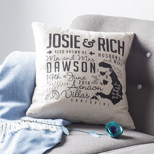Personalised Wedding Cushion - 4th anniversary: linen