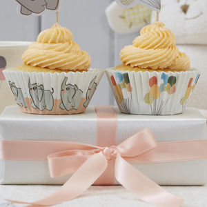 Baby Elephant And Peach Cupcake Cases - occasional supplies