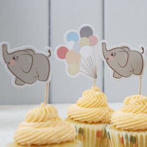 Baby Elephant Cupcake Picks - kitchen accessories