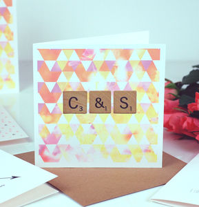 Scrabble Geometric Print Monogram Valentines Card - gifts