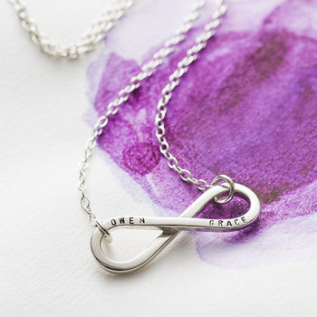 Personalised Infinity Necklace in 925 Sterling Silver with a black finish on a standard trace chain